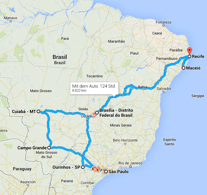Brasilien-Reiseroute V1